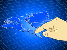 Hand pressing world map Stock Image
