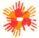 Hand print. Colorful hand print by children Royalty Free Stock Image