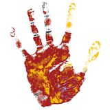 Hand print. Over white background, element for design Stock Images