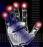 Hand print. A print of a hand with red areas around the thumb and fingures in the style of a digital signature with data stream of numbers and letters, a healing Stock Image