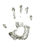 Hand print. The image of a print of a hand on a white background Stock Photography