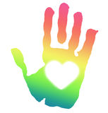 Hand print. Rainbow colored hand print with heart inside Royalty Free Stock Photo