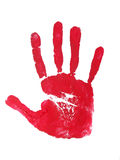 Hand print. Image of a print of a red hand on a white background Royalty Free Stock Image