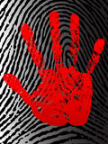 Hand print. Bloody hand print on the background of fingerprint Royalty Free Stock Photography