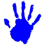 Hand print. Blue Hand print Vector on pure white background Royalty Free Stock Photos