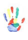 Hand Print. Colorful handprint isolated on white Stock Images