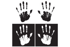 Hand print. Black and white hand print in vector Royalty Free Illustration