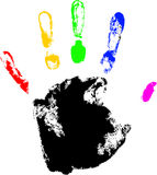 Hand print. Vector hand print with rainbow finger Royalty Free Stock Photography