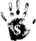 Hand print. Vector hand print with dollar symbol Stock Photos