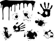 Hand print , began to flow paint. And splash blot . Set of paint for design Royalty Free Stock Photos