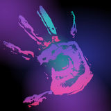 Hand print on black. Vector hand print on black background Stock Photography