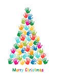 Hand print Christmas tree, vector. Colorful Christmas tree, kids hand prints, vector illustration Royalty Free Stock Photography