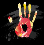 Hand print from color splashes and line brushes Royalty Free Stock Photography