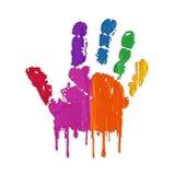 Hand print & colors vector illustration