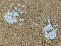 Hand print. A hand print on concrete background Stock Photography