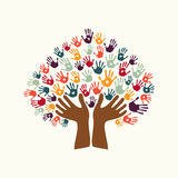 Hand print ethnic tree symbol of culture diversity Royalty Free Stock Photos