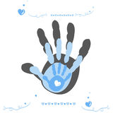 Hand print with family, baby boy, mother and father vector background Stock Photography
