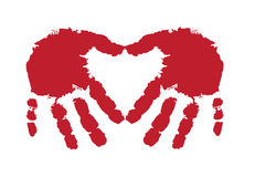 Hand print. Finger paints a picture framed with hollow Royalty Free Stock Photo