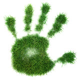 Hand print of grass Royalty Free Stock Photos