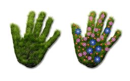 Hand print of grass Royalty Free Stock Images