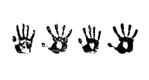Hand print grunge paint. Set blot hand print Royalty Free Stock Images