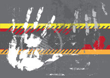 Hand print on grungy background Stock Images