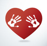Hand print in the heart shape vector illustration Royalty Free Stock Photography