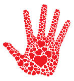 Hand print with hearts vector illustration