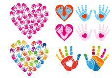 Hand print hearts, vector set Stock Photos