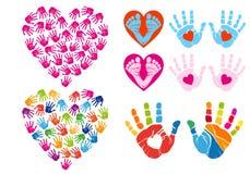 Hand print hearts, vector set stock illustration