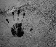 Hand print on ice Royalty Free Stock Images