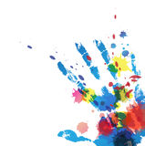 Hand print with ink splatter Stock Images