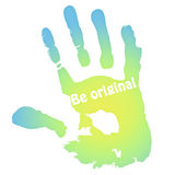 Hand print with the inscription Royalty Free Stock Photo