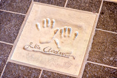 Hand print of Julie Andrews in Cannes. Cannes, France - June 14, 2016: Autograph and hand print of Julie Andrews on a clay tile near Film Festival Palace in royalty free stock photos