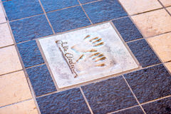 Hand print of Julie Andrews in Cannes. Cannes, France - June 14, 2016: Autograph and hand print of Julie Andrews on a clay tile near Film Festival Palace in stock images