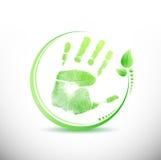 Hand print leaves around illustration design Stock Photos