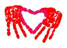 Hand Print of Love Stock Image
