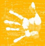 Hand Print with mathematics. Printout of human hand with mathematics Stock Image