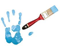 Hand print near bristle in blue Stock Photography