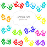 Hand print with paw print. Colorful greeting card Stock Image