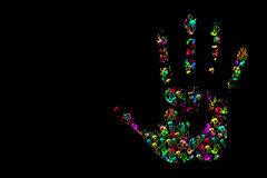 Hand print. Pf art and background design for your work Stock Photo