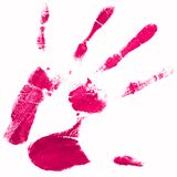 Hand print with pink color Royalty Free Stock Photos
