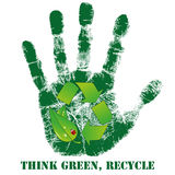 Hand print with recycle icon Royalty Free Stock Photos