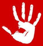 Hand print on a red background Royalty Free Stock Images