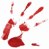 Hand print with red color. A hand print with red color istolated on white background Royalty Free Stock Photography