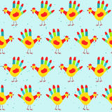 Hand print rooster design, seamless pattern. New Year 2017 seamless pattern with cute hand print rooster. Childish hand print rooster seamless pattern. 2017 New Royalty Free Stock Photos