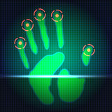 Hand print scanner. Hand print identification system scanner Royalty Free Stock Images