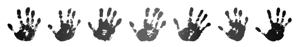 Hand print set isolated on white background. Black paint human hands. Silhouette child, kid, young people handprint. Stamp fingers and palm shape. Abstract royalty free illustration