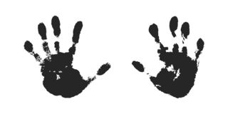 Hand print set isolated on white background. Black paint human hands. Silhouette child, kid, young people handprint. Stamp fingers and palm shape. Abstract vector illustration