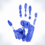 Hand-print shape. Blue hand-print shape isolated on white background. Watercolor vector Royalty Free Stock Image